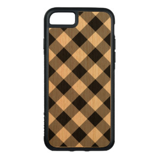 Diagonal Black Gingham Pattern on Cherry Wood Carved iPhone 7 Case