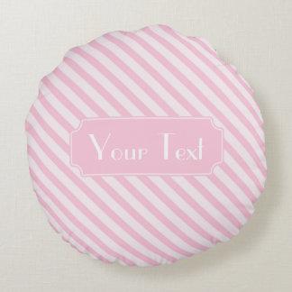 Diagonal Blossom Pink Stripes customise monogram Round Cushion