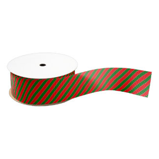 Diagonal Candy Cane Stripes-Christmas Red & Green Grosgrain Ribbon