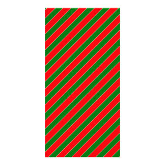Diagonal Candy Cane Stripes-Christmas Red & Green Custom Photo Card