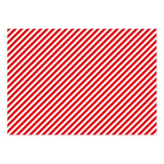 Diagonal Candy Cane Stripes-Christmas Red & White Business Card