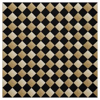 Diagonal Checks Black/Gold Damask DCRX Fabric