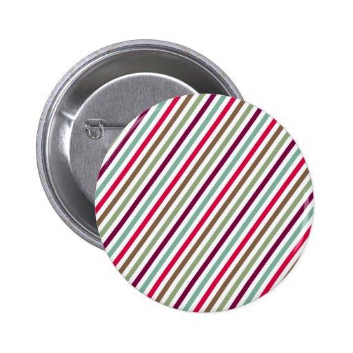 Diagonal Chic Multicolored Stripes Button