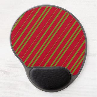 Diagonal Christmas Stripes Gel Mouse Pad