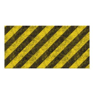 Diagonal Construction Hazard Stripes Photo Cards