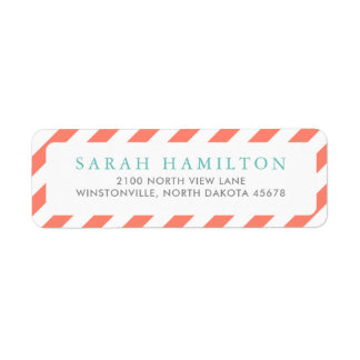 Diagonal Coral Stripes | Return Address Return Address Label