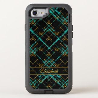 diagonal crisscrossed squares turquoise gold OtterBox defender iPhone 7 case