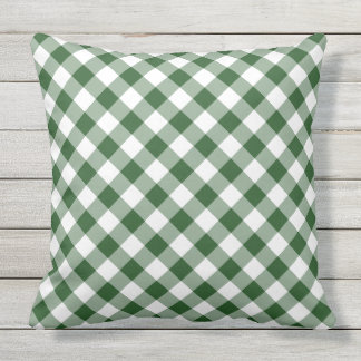 Diagonal Green and White Gingham Checked Plaid Outdoor Cushion