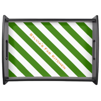 Diagonal Green Stripes Custom Color and Text Serving Tray