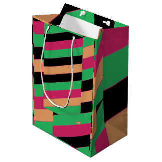 Diagonal harlequin colored stripes medium gift bag