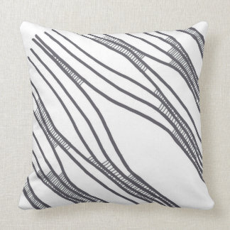 Diagonal layers neutral throw pillow