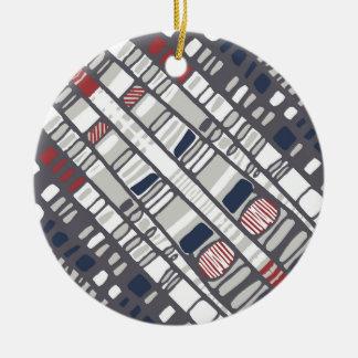 Diagonal layers red ceramic ornament