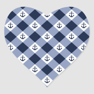 Diagonal nautical checkered gingham pattern heart sticker