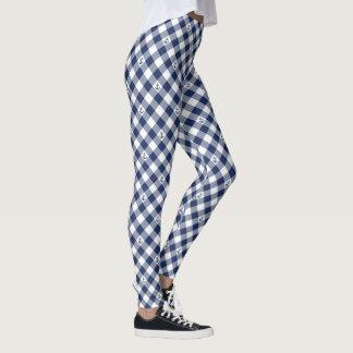 Diagonal nautical checkered gingham pattern leggings