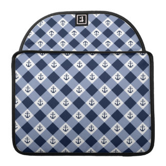 Diagonal nautical checkered gingham pattern sleeve for MacBook pro
