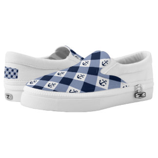 Diagonal nautical checkered gingham pattern Slip-On shoes