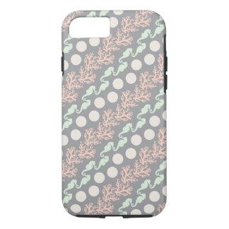 Diagonal Ocean Stripes on Gray iPhone 7 Case