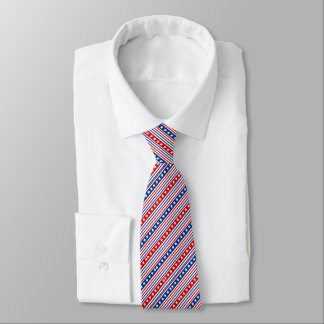 Diagonal Patriotic Stars and Stripes Tie