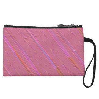 Diagonal Pink Abstract Pattern Wristlet Purse