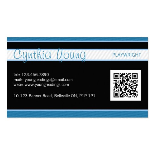 Diagonal Pinstripe - Blue Business Cards