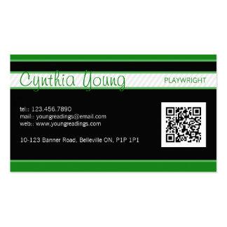 Diagonal Pinstripe - Green Pack Of Standard Business Cards