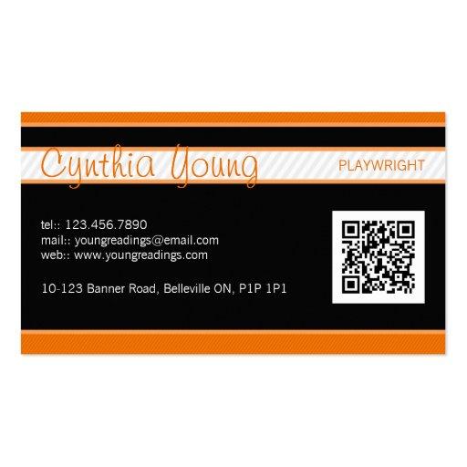 Diagonal Pinstripe - Orange Business Cards