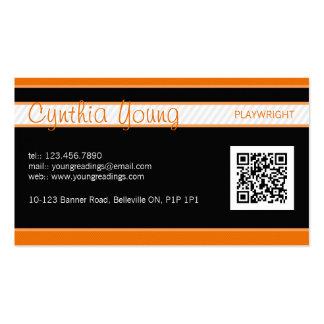 Diagonal Pinstripe - Orange Pack Of Standard Business Cards