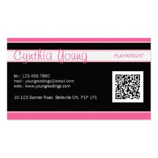 Diagonal Pinstripe - Pink Business Cards