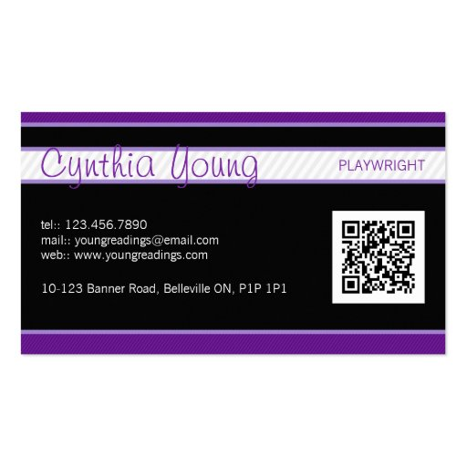 Diagonal Pinstripe - Purple Business Card Templates