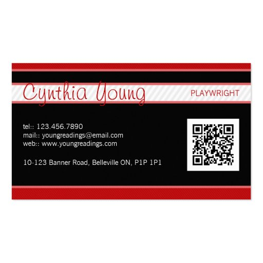 Diagonal Pinstripe - Red Business Card Template