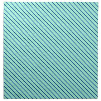 Diagonal pinstripes - aqua  and navy napkin