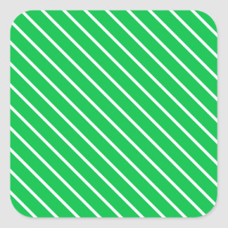 Diagonal pinstripes - emerald green and white square sticker