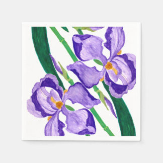 Diagonal Purple Iris Paper Napkins