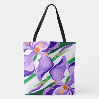 Diagonal Purple Iris Tote