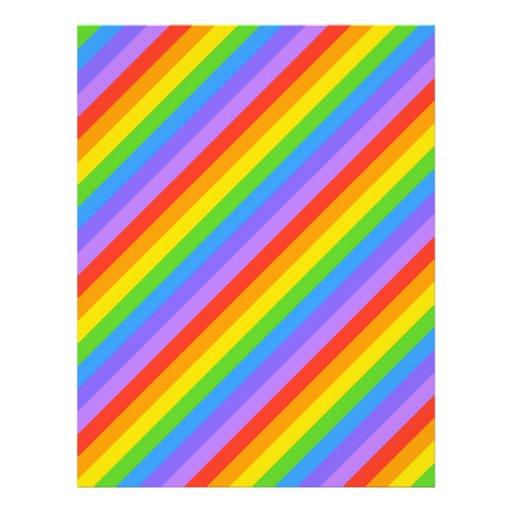 Diagonal Rainbow Stripes Pattern. Custom Flyer