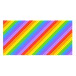 Diagonal Rainbow Stripes Pattern. Customized Photo Card