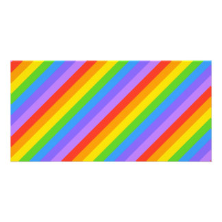 Diagonal Rainbow Stripes Pattern. Personalized Photo Card