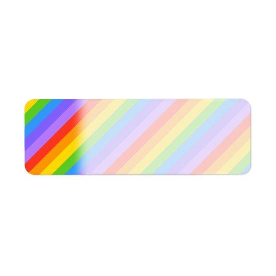 Diagonal Rainbow Stripes Pattern. Return Address Label