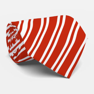 Diagonal Red And White Striped Tie