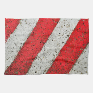 Diagonal red white lines cement texture traffic si tea towel