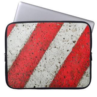 Diagonal red white lines urban texture traffic sig laptop sleeve