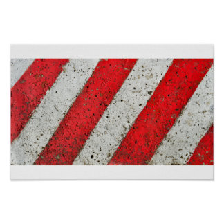Diagonal red white lines urban texture traffic sig poster