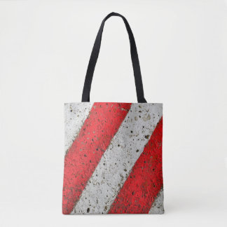 Diagonal red white lines urban texture traffic sig tote bag