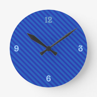 Diagonal royal blue Stripes Round Clock