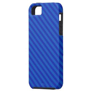 Diagonal royal blue Stripes Tough iPhone 5 Case