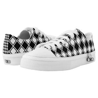 Diagonal Square Monochrome Zipz Low Top Shoes