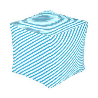 Diagonal Stripe Blue Pattern Cube Pouffe