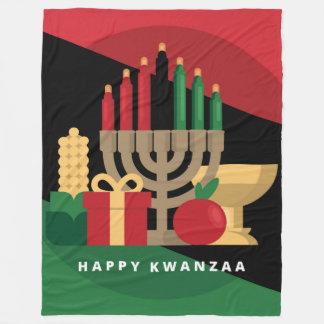 diagonal stripe Happy Kwanzaa blanket