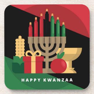 diagonal stripe Happy Kwanzaa Coaster