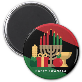 diagonal stripe Happy Kwanzaa Magnet